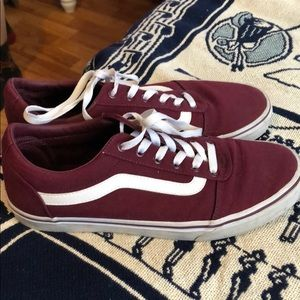maroon laced vans. women's size 11, men's size 9